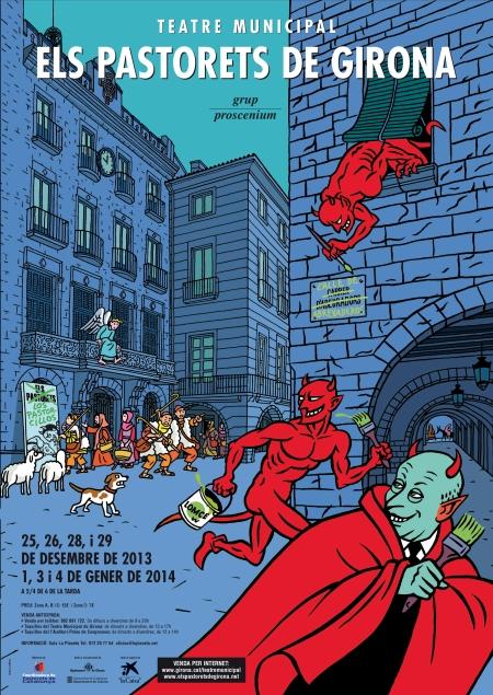 """Cartel de """"Els Pastorets de Girona"""". (""""Los Pastorcillos de Gerona"""")"""